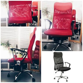 Leather & Mesh Effect Office Chair, RED
