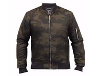 Brave Soul Men's Camo Bomber Jacket * Brand New