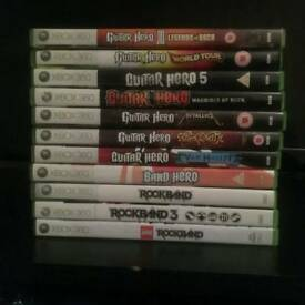 11 Guitar Hero/Rockband games plus Wireless Guitar Xbox 360