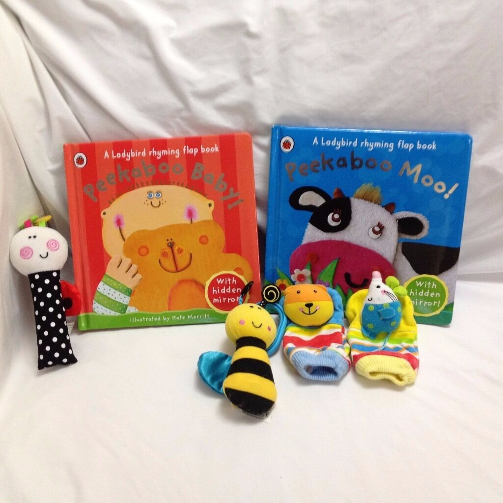 Newborn BooksToysGood Conditionin Helensburgh, Argyll and ButeGumtree - Newborn Books & Toys – Peekaboo Baby & Peekaboo Moo – Good condition, just some creases – Tiger & Mouse Rattle Mitts – Good condition, just a little faded from wash – Squeaky ladybird & Jingling Bee – Excellent condition From smoke and...