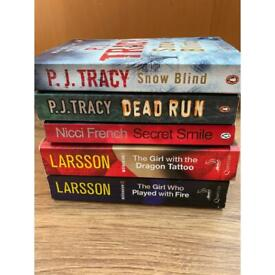 Crime/thriller novels - Stieg Larsson, PJ Tracy and Nicci French