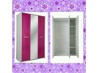 BRAND NEW CUTE Pink Gloss Triple Wardrobe with Mirror Flat Packed.Delivery Available