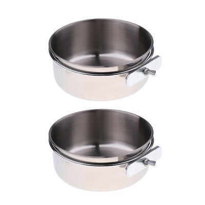 2x Food Water Bird Cup with Clamp Holder Stainless Steel Coop Feeding Dish