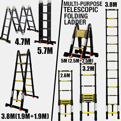2.6-5.7M Black Multi Purpose Aluminium Telescopic Ladder Extendable Loft