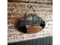 vintage mirror. antique mirror. hall mirror. bevelled mirror. feature wall mirror. mirror on chain.