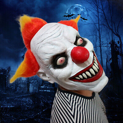 Halloween Scary Clown Latex Mask Full Face Costume Evil Creepy Horror Cosplay US - Horror Clown Halloween