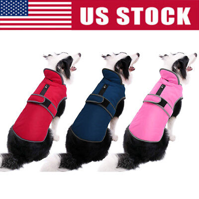 Waterproof Fleece Warm Pet Dog Coat Winter Jacket Clothes Sweater Reflective USA Fleece Dog Coat