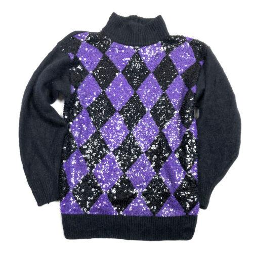 IB Diffusion Womens S Vintage 80s Sweater Silk Angora Sequin Diamond Print