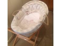 Mamas & Papas 'Once upon a time' Moses basket with hood, stand and blanket