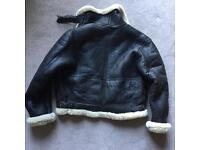 Beautiful brown leather and sheepskin flying jacket