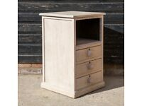 Antique Edwardian/20th C. Limed-Oak Bedside Table / Side Table - Exceptional