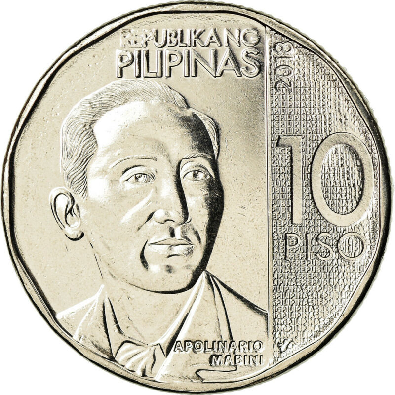 [#785991] Coin, Philippines, 10 Piso, 2018, Apolinario Mabini, MS(63), Nickel