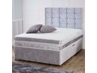 🎆💖🎆BEST SELLING BRAND🎆💖🎆CRUSH VELVET DOUBLE DIVAN BED + SEMI ORTHOPEDIC MATTRESS