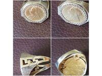 9ct gold full sovereign ring