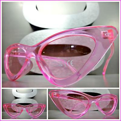 Classy Elegant Exotic Vintage RETRO Cat Eye Style SUNGLASSES Hot Pink Frame Lens