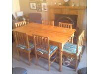 Kitchen/dining room table and 6 chairs.