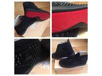 Christian Louboutin Black Suede High Top Loubs Unisex Size 6 - 12 Trainers Shoes Box & Dustbag