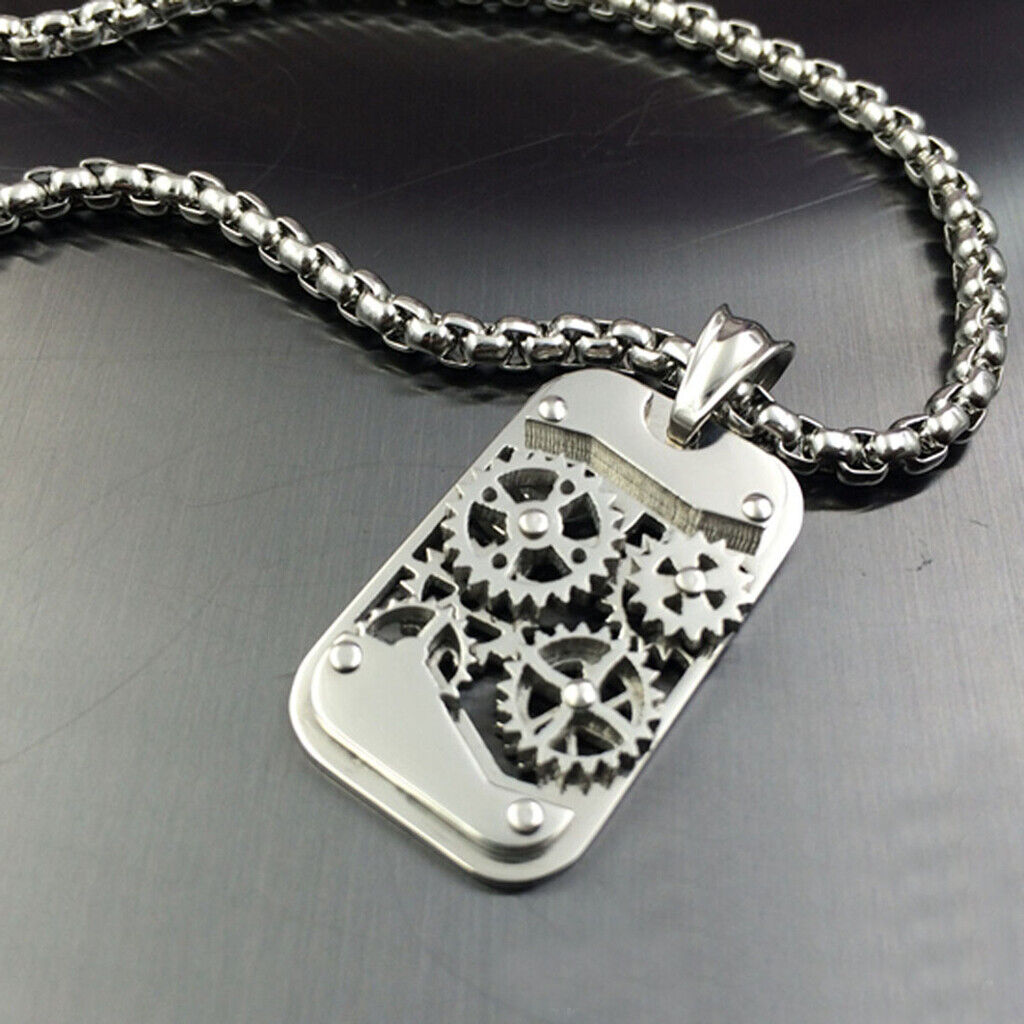 pendant mechanical for hiphop stainless jewelry steampunk surface necklace men vnox com machine rock antique zibbor punk steel retro gear