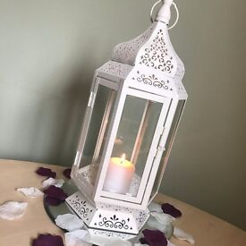 Cream candle lantern for sale, perfect for house, garden or wedding