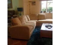 Lovely neutral colour corner sofa and arm chair