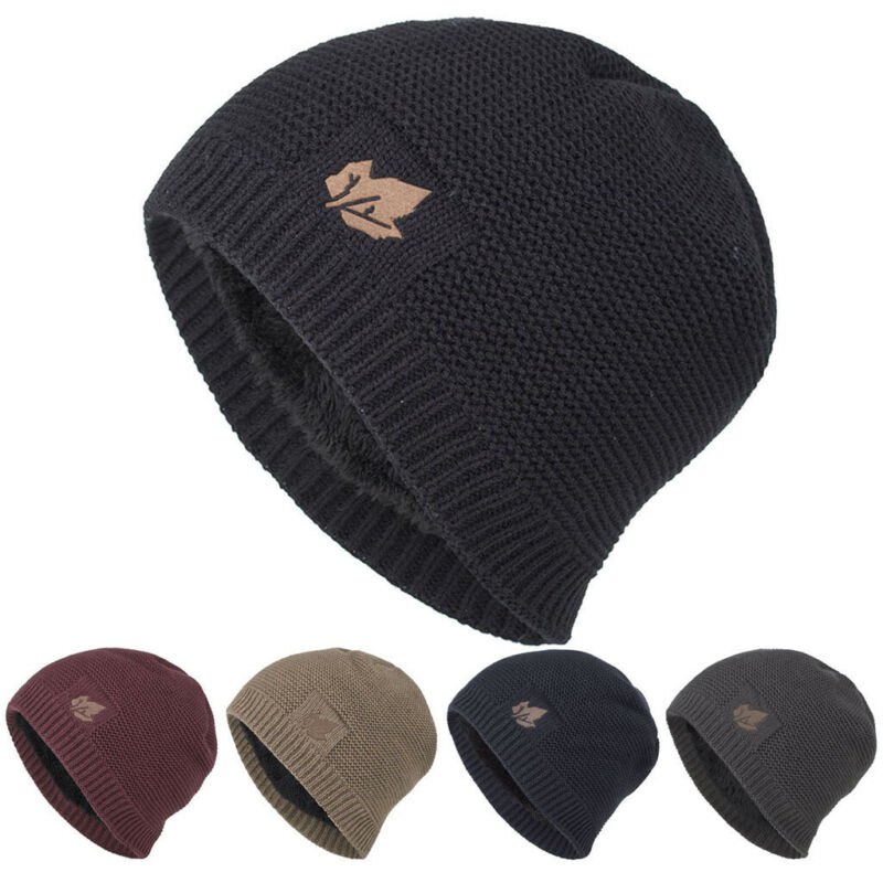 Men Women Unisex Winter Warm Down Headgear Solid Pile Cap Ea