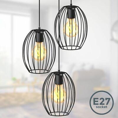 Lámpara Colgante Retro Negro Alambre Metal Mesa de Comedor Edison Industrial