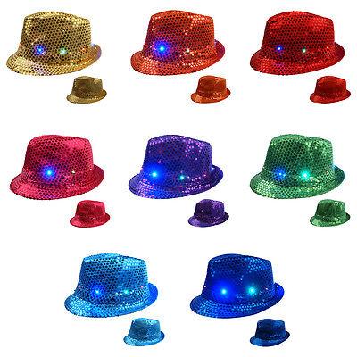 LED Hut Glitzerhut Partyhut Hut Glitzer Pailletten blinkend verschiedene Farben