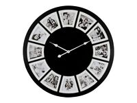 Modern Round Black Multi Photo Frame Wall Clock Holds 12 Pictures - 78cm