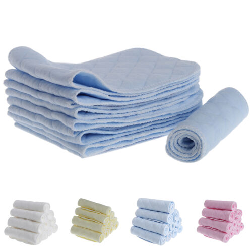 10 Pcs Reusable Pure Cotton Baby Cloth Diaper Nappy Liners Insert 3 Layer lot BG