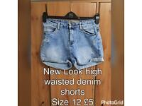 New Look denim shorts, Size 12, £5