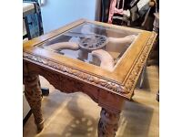 Beautiful carved wooden side/coffee table