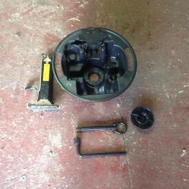 Renault wheel jack/Towing eye /wheel brace and inner wheel container.