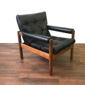 Furore 1960's Teak and Black Vinyl chair Mid Century Vintage Retro Armchair