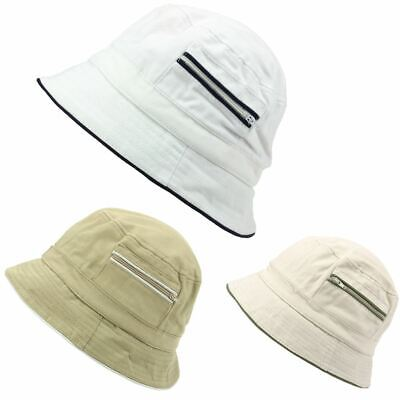 Bucket Hat Zip Pockets Contrast Trim Beige White Summer Sun Oasis Festival ()