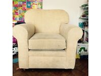 Sofa and armchair in good nick, must go as new one being delivered in one week