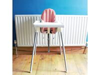 IKEA Antilop highchair with detachable tray + supporting cushion and cover