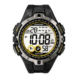 Times Marathon Digital Alarm Chronograph Black Resin Strap Gents Watch