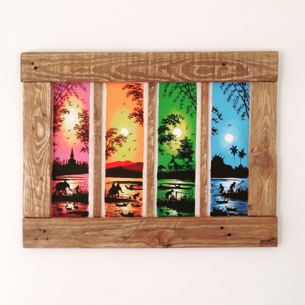 Laos Sunset Paintings with Wooden Pallet Frame | in Woking, Surrey ...