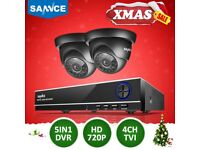 SANNCE 4CH 720P 5IN1 DVR Outdoor Night Vision CCTV 1.0MP Security Camera System