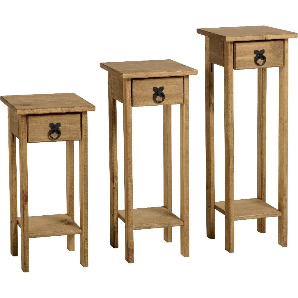 New In Box Corona Mexican Pine Set Of 3 Console Hall Tables Plant Stands