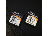 2x Lexar Professional 32GB Class 10 UHS-1 600X + 400X SD SDHC Memory Cards