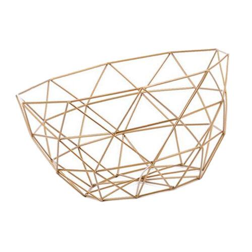 Geometric Fruit Basket Wire Bowl Kitchen Metal Countertop Fr