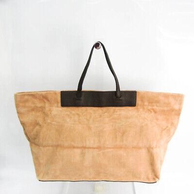 Fendi 8BH264 Women's Suede,Leather Tote Bag Beige,Dark Brown FVEL000053