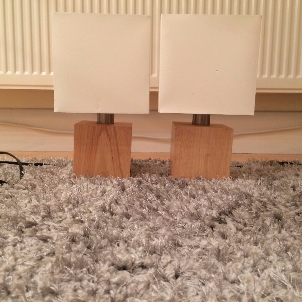 Two Solid Wood Base, Cream Shade Side Lamps