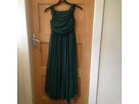Two Hunter green chiffon girls bridesmaid dresses