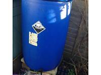 Blue barrel water butts