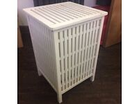 White wooden laundry basket/ linen storage with lid