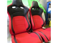 Pair of Red&Black PU Leather Sport Seats Bucket Seat / Reclining Seats - Racing Car Seats - Runners