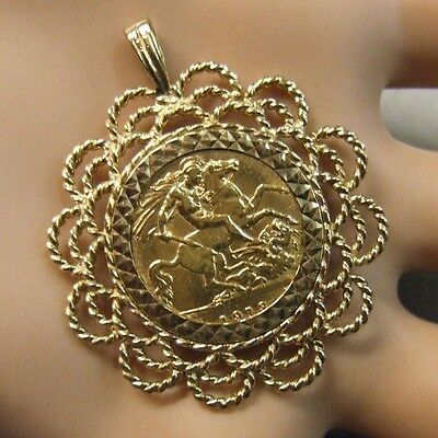 9ct gold Second hand half sovereign mount