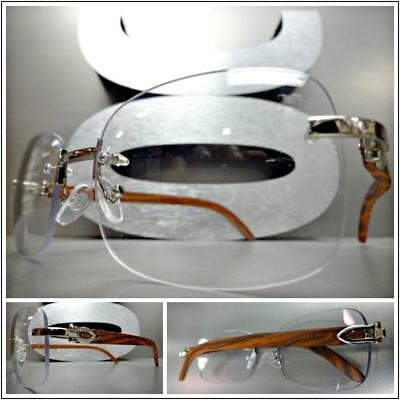 Mens CLASSY Style Clear Lens EYE GLASSES Silver Wood Wooden Effect Fashion Frame
